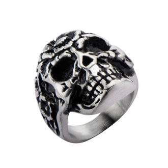 ring INOX - BLK FLOWER SKULL HEAD, INOX
