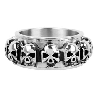 ring INOX - skulls around, INOX
