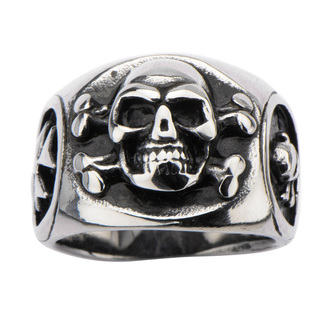 ring INOX - SKULL BACK CROSS BONE, INOX