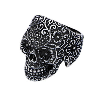 ring INOX - SKULL W/FLOWER EYES, INOX