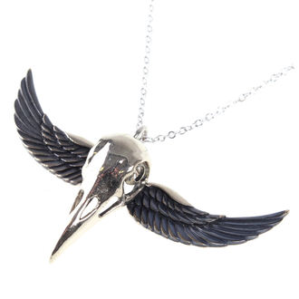 Collar ETNOX - Winged Crow Skull - Silver