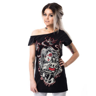 t-shirt women's - CAT MUERTE OFF SHOULDER - VIXXSIN