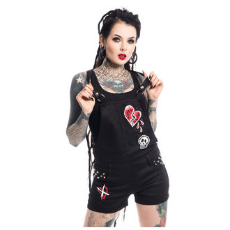shorts women Heartless - ANTI LOVE BIB AND BRACE - BLACK, HEARTLESS