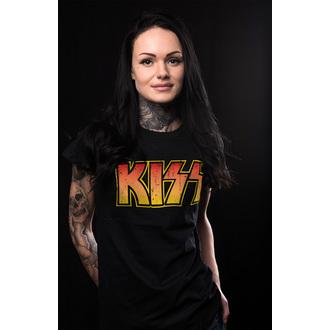 t-shirt metal women's Kiss - Distressed Logotype - HYBRIS, HYBRIS, Kiss
