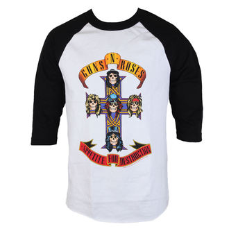 t-shirt metal men's Guns N' Roses - AFD RAGLAN-WHITE/BLACK - BRAVADO, BRAVADO, Guns N' Roses