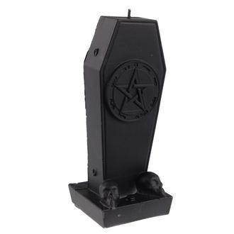 candle Coffin with Pentagram - Black Matt