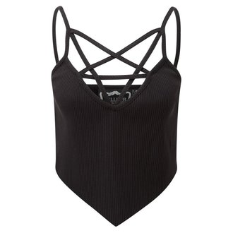 Top women's KILLSTAR - Sally Sceptre - Black - K-TOP-F-2402 Leaf 1 Prozkoumat&&string0&& Ribbed Vest Black