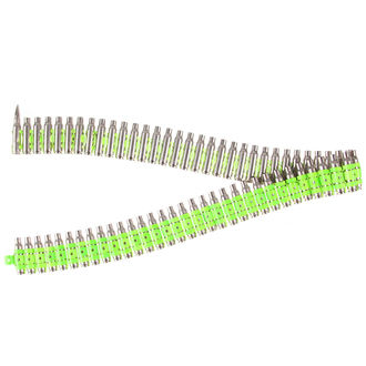 belt Silver & Fluorescent - Green Metal Bullet