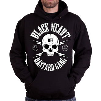 hoodie men's - BASTARD SKULL - BLACK HEART, BLACK HEART