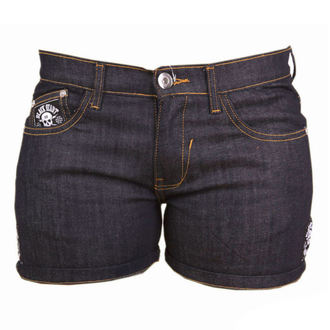 shorts women BLACK HEART - CROSS SKULL - DENIM, BLACK HEART