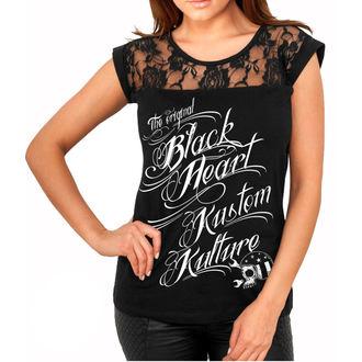 t-shirt street women's - KUSTOM KULTURE - BLACK HEART, BLACK HEART