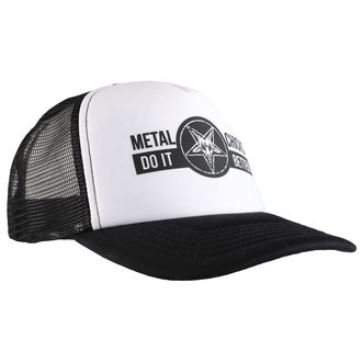cap METAL CHICKS DO IT BETTER - BAPHOMET - Logo - WHT & BLACK, METAL CHICKS DO IT BETTER