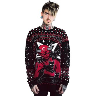 Men's sweater KILLSTAR - ROB ZOMBIE - Feline Festive - BLACK, KILLSTAR, Rob Zombie