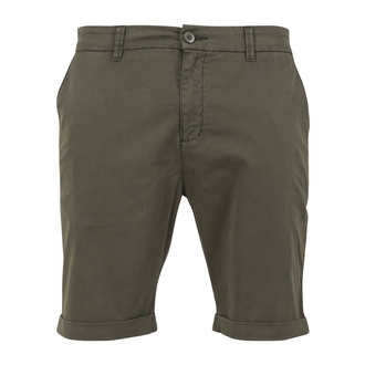 Men's shorts URBAN CLASSICS - Stretch Turnup Chino - TB1264-darkolive