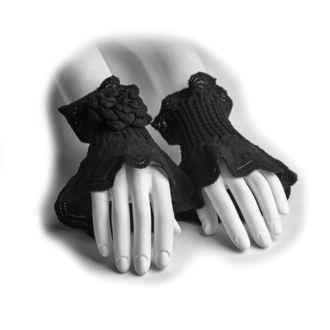 Wrist warmers/ fingerless gloves PUNK RAVE - Rosette, PUNK RAVE