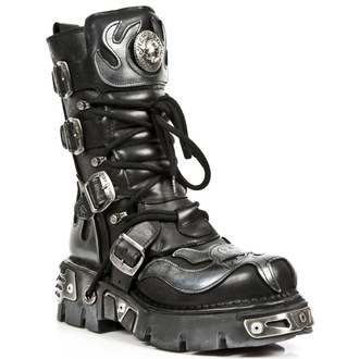 boots leather - Vampire Boots (107-S2) Black-Grey - NEW ROCK - M.107-S2