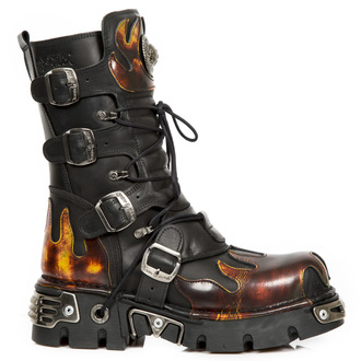 boots leather - Flame Boots (591-S1) Black-Orange - NEW ROCK, NEW ROCK