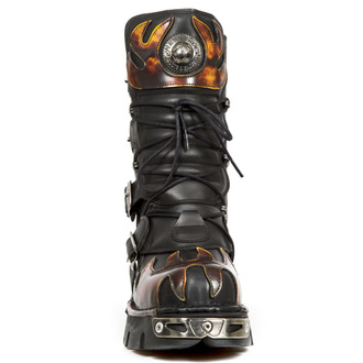 boots leather - Flame Boots (591-S1) Black-Orange - NEW ROCK - M.591-S1