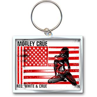 key ring - pendant Mötley Crue (Red, White & Crue Logo) - ROCK OFF - MOTKEY09