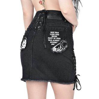 skirt women's KILLSTAR - PHASED OUT DENIM - BLACK, KILLSTAR