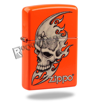 lighter ZIPPO - SKULL HEAD - NEON ORANGE, ZIPPO