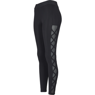Women's pants (leggings) URBAN CLASSICS - Ribbon Mesh - black, URBAN CLASSICS