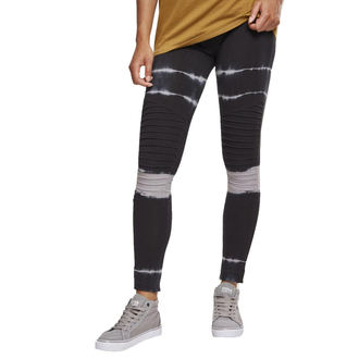 Women's pants (leggings) URBAN CLASSICS - Tie Dye Biker - blk / lt.grey, URBAN CLASSICS