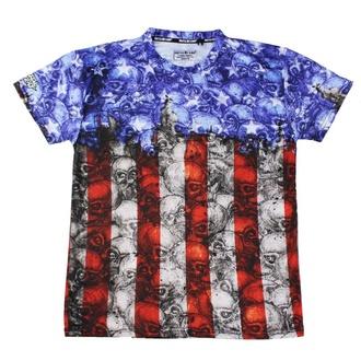 t-shirt hardcore men's - SKULL CAMO USA FLAG - LETHAL THREAT - SC50504