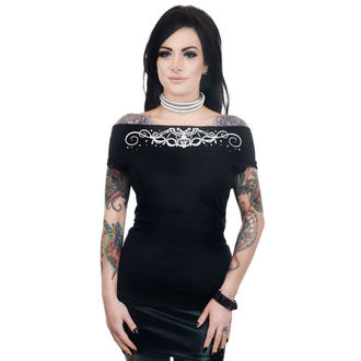 t-shirt gothic and punk women's - FOXY OFF THE SHOULDER - TOO FAST - WTFX-T-SKBAT