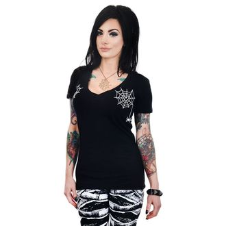 t-shirt gothic and punk women's - HEART SPIDER WEBS - TOO FAST, TOO FAST