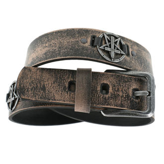 Belt Pentagram Cross - brown, JM LEATHER