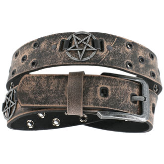 Belt Pentagram - brown, JM LEATHER