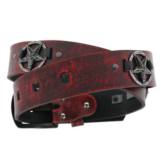 Belt Baphomet - red, JM LEATHER