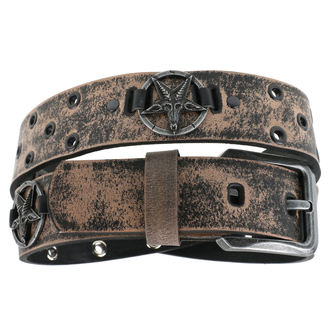 Belt Baphomet - brown, JM LEATHER