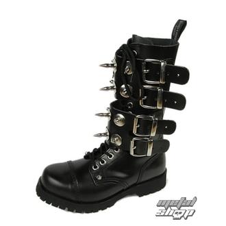 leather boots women's - Scare 4-buckles - BOOTS & BRACES - ČERNÉ, BOOTS & BRACES