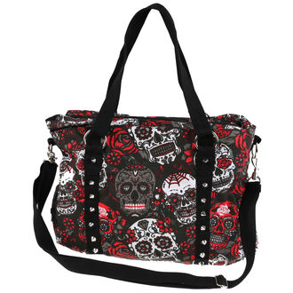 Purse (shoulderbag) ROCKABELLA - MUERTE SKULL - BLACK