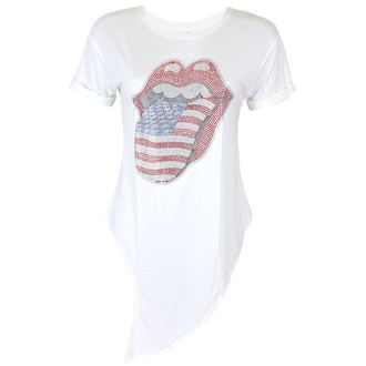 t-shirt metal women's Rolling Stones - RS USA BLING TONGUE WHITE - PLASTIC HEAD