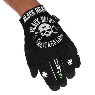 Gloves BLACK HEART - BASTARD SKULL - BLACK, BLACK HEART