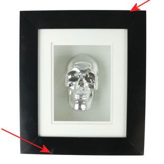 Picture Silver Skull In Frame - B0330B4 - DAMAGED