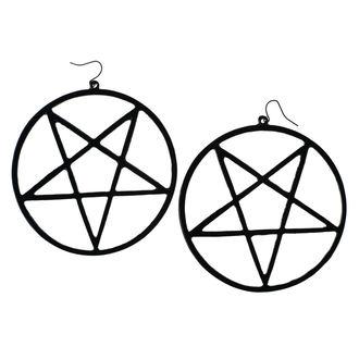 Earring Luciferothica - Huge Inverted Pentagram - Black, LUCIFEROTHICA