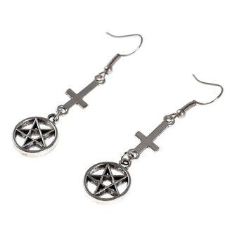 Earrings Luciferothica - Inverted cross Pentagram, LUCIFEROTHICA