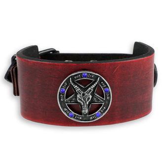 Bracelet Baphomet - red - crystal blue, JM LEATHER