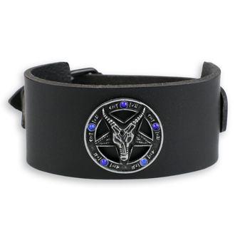 Bracelet Baphomet - black - crystal blue, JM LEATHER