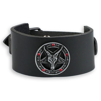 Bracelet Baphomet - black - crystal red, JM LEATHER