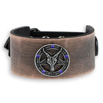 bracelet Baphomet - brown - crystal blue, JM LEATHER
