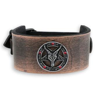 bracelet Baphomet - brown - crystal red, JM LEATHER