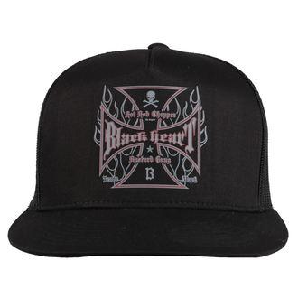 cap BLACK HEART - HOT ROD FLAMES - BLACK, BLACK HEART