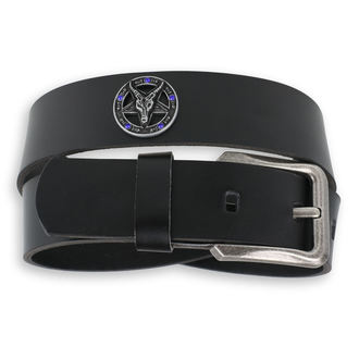 belt Baphomet - Black krystal - blue, JM LEATHER