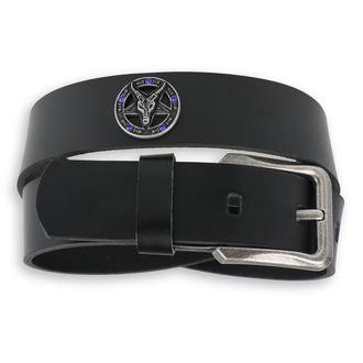 belt Baphomet - Black krystal - blue, JM LEATHER