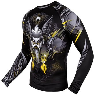 Men's thermo long sleeve t-shirt Venum - Viking 2.0 Rashguard - Black / Yellow, VENUM